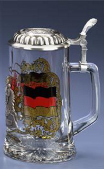 Authentic German Beer Mug with Pewter Lid for Sale