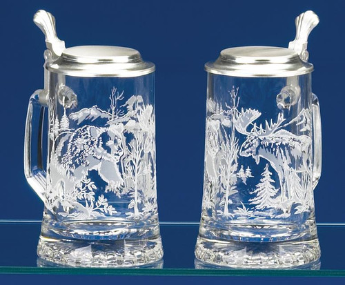 Authentic German Beer Stein with Bear and Moose Engraving