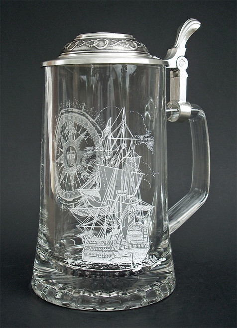 Personalized German Beer Glass with Nautical Engravings