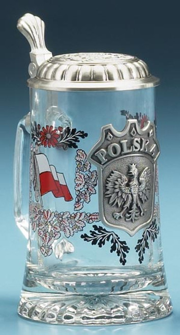 Authentic German Beer Mug with Pewter Polska Crest