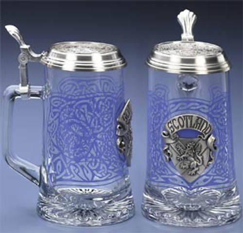 Authentic German Beer Stein with Pewter Scottish Crest