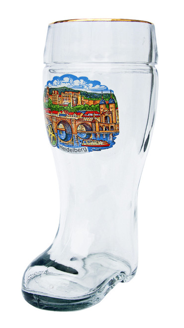 Authentic 1 Liter Beer Boot with Motif of Heidelberg Germany