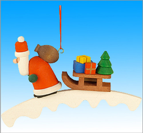 Hiking Santa Wooden German Ornament