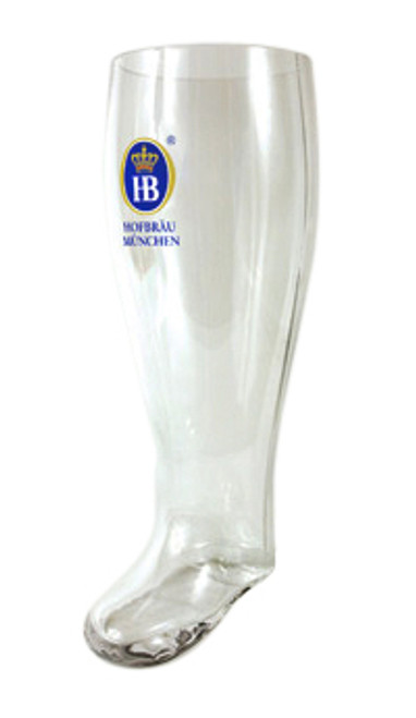 Traditional Hofbrauhaus HB German Glass Beer Boot 2 Liter