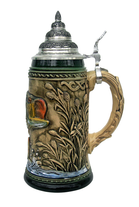 Large Mouth Bass Beer Stein Rustic