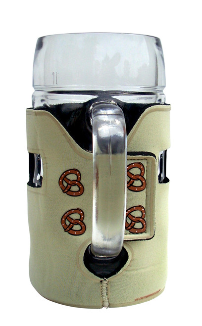 Rear of Lederhosen Beer Mug Koozie Showing Pretzels and Velcro Strap in Use on One Liter Mug