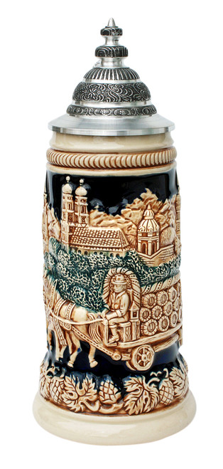 Antique Style Munich Oktoberfest Beer Stein with Lid