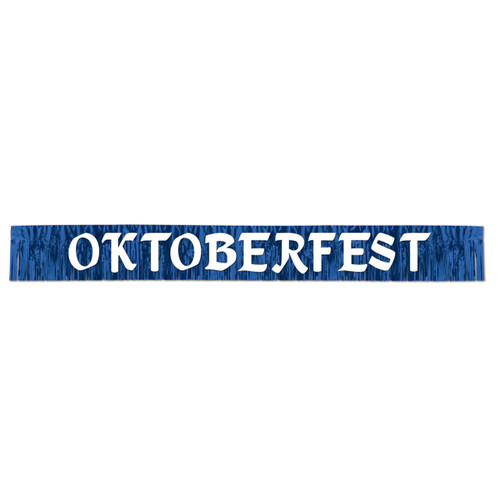 Oktoberfest Blue Metallic Fringe Party Banner