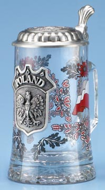 Authentic German Beer Mug with Pewter Polish Crest