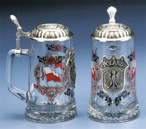 Personalized German Beer Mug with Pewter Polish Crest