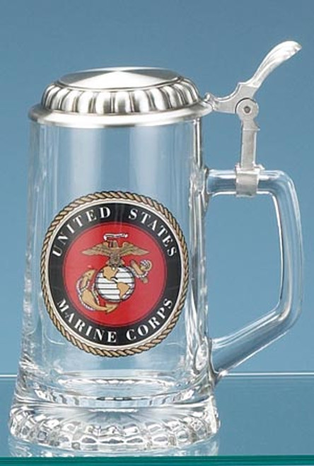 Authentic German Beer Stein with USMC Eagle, Globe & Anchor