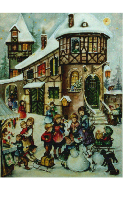 Children Building a Snowman German Advent Calendar