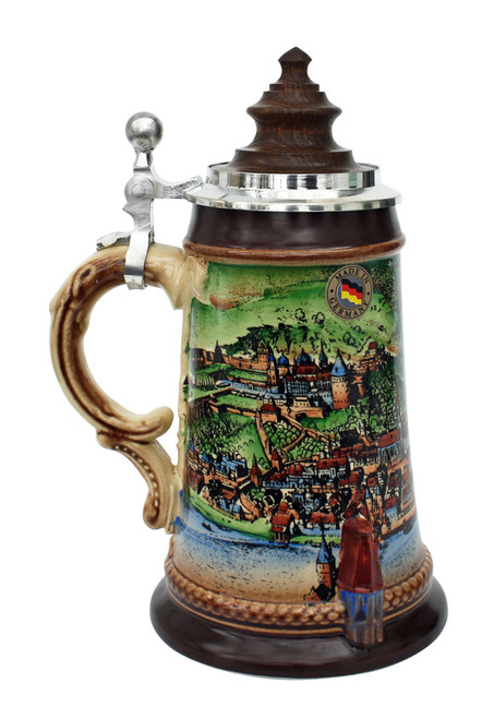 Old Heidelberg Beer Stein with Wood Lid