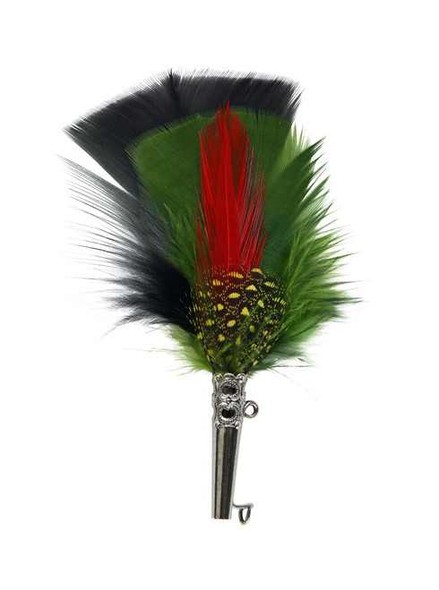 Feather Hat Pin Green and Black