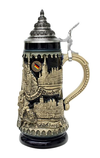 Deutschland Germany Jousting Knights Beer Stein Cobalt