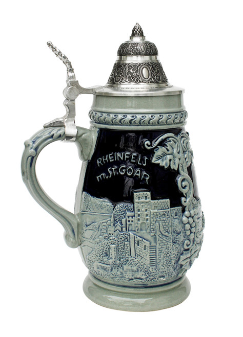 Loreley St. Goar Rhein River Beer Stein Cobalt Blue