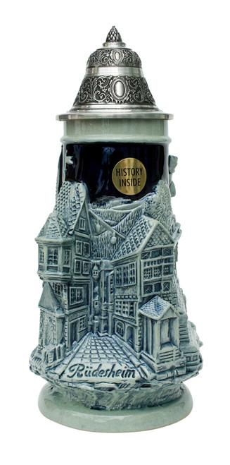 Rhein River Towns Souvenir Beer Stein Cobalt