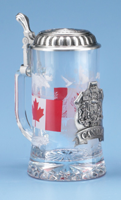 Traditional Canada Glass Beer Stein with Pewter Lid