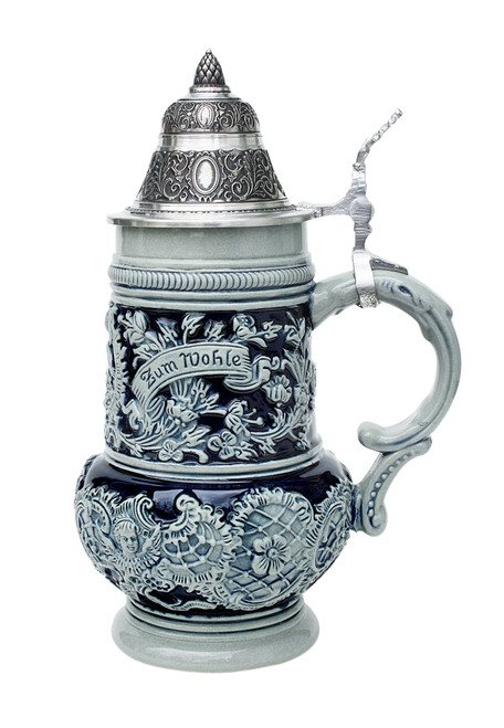 Left Side of Rococo Stoneware Beer Stein Showing Zum Wohle Engraving