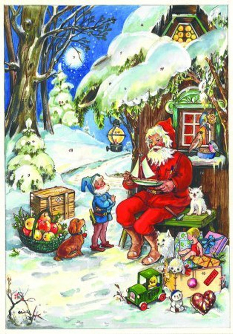 Santa with Toys German Advent Calendar