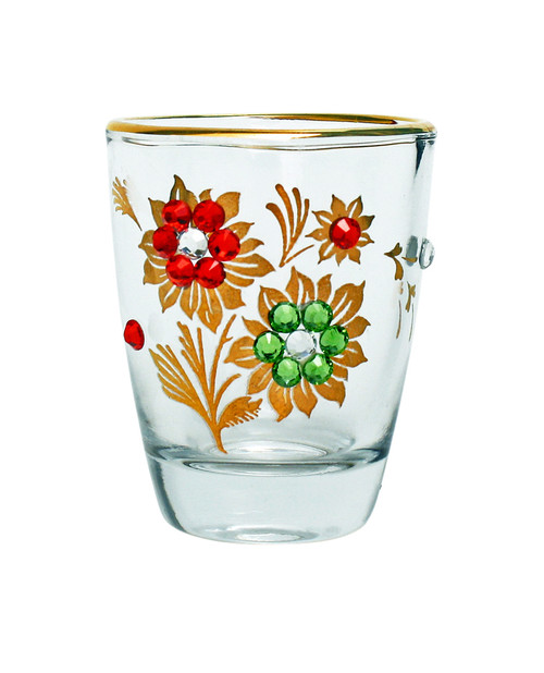 Flowers with Crystal Rhinestones Shot Glass