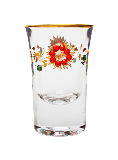 Flowers and Vines with Crystal Rhinestone Shot Glass