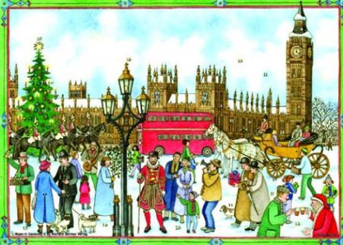 Old London Town Square German Advent Calendar