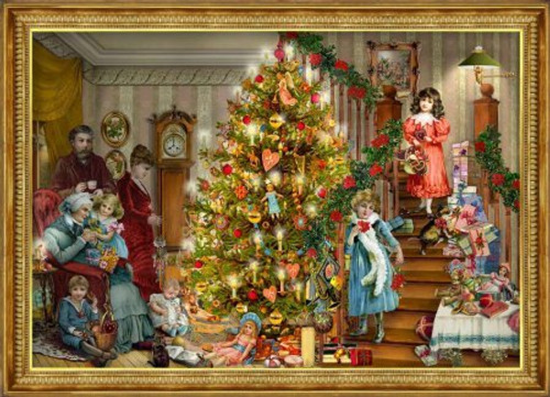 Victorian Christmas Morning German Advent Calendar