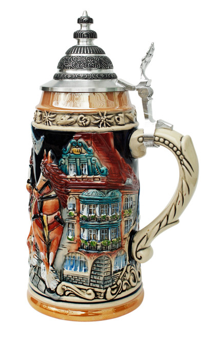 Oktoberfest Traditional Collectible Ceramic Beer Stein with Lid