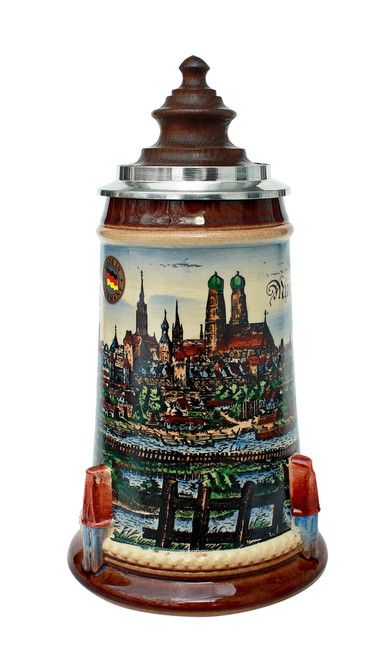 Old Munich Beer Stein with Wood Lid