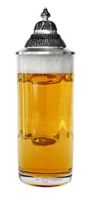 German Glass Beer Stein Full of Beer