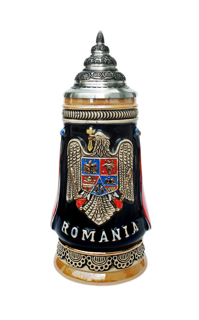 German Beer Stein with the Romania Coat of Arms