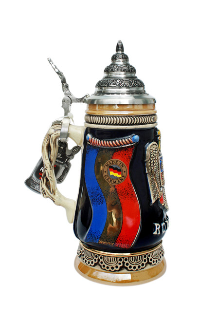 Beer Stein with Romanian Coat of Arms and Flag with 24K Gold Accents