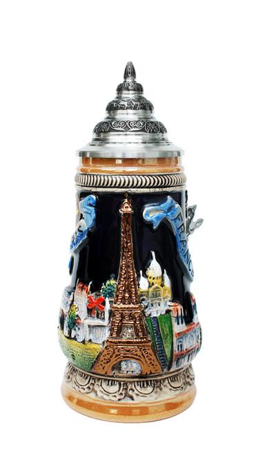 .25 Liter Hand Painted Beer Stein Depicts Paris