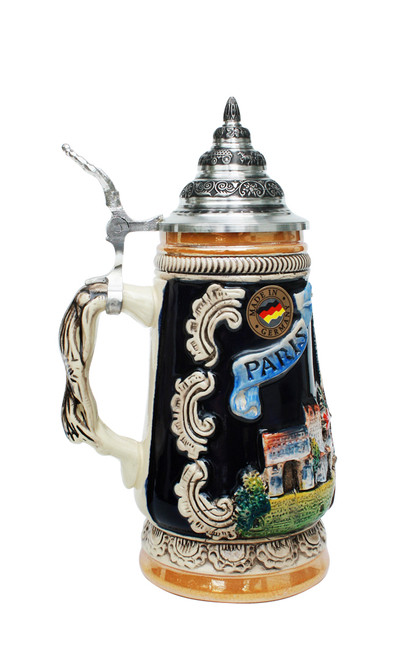 Limited Edition Beer Stein of Eiffel Tower and Paris Skyline with Pewter Lid