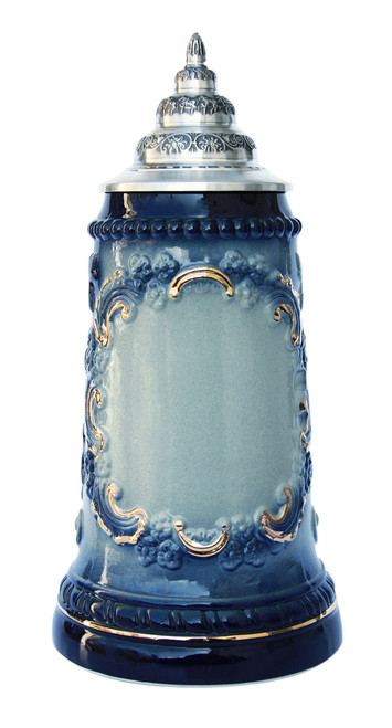 Blue Glazed Beer Stein with 24K Gold Accents with Blank Front Panel