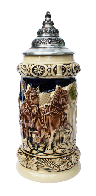 Oktoberfest Clydesdale and Beer Wagon Stein Antique Style