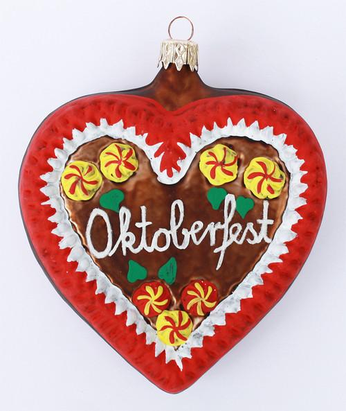 Oktoberfest Gingerbread Heart Glass Ornament