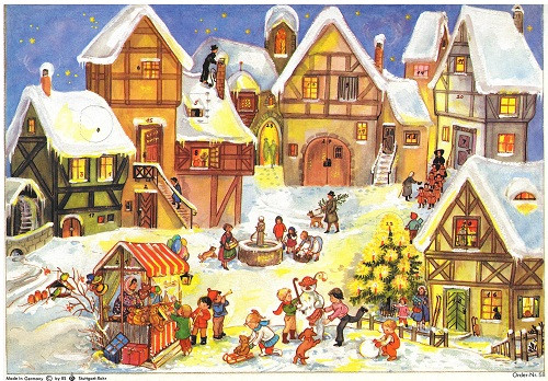 Village Christmas Market German Advent Calendar