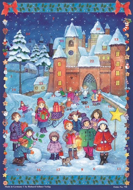 Children Stargazing in front of Winter Castle German Advent Calendar