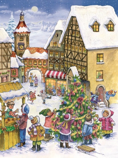 Town Christmas Tree German Advent Calendar