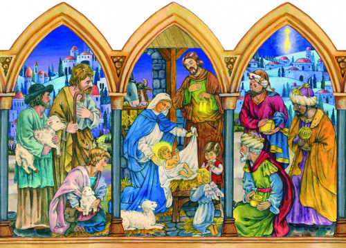 Triptych Style Religious German Christmas Advent Calendar