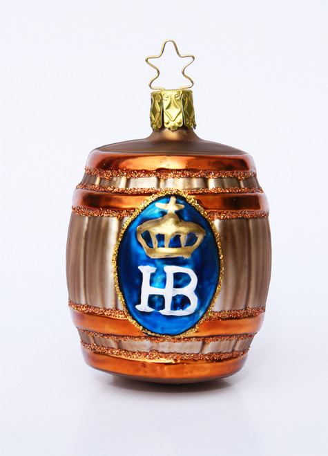 Hofbrauhaus HB Keg Glass Christmas Ornament with Logo on Front