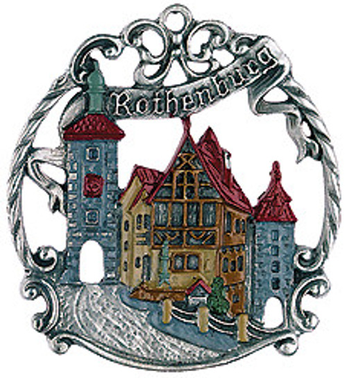 Rothenburg Town German Pewter Christmas Ornament