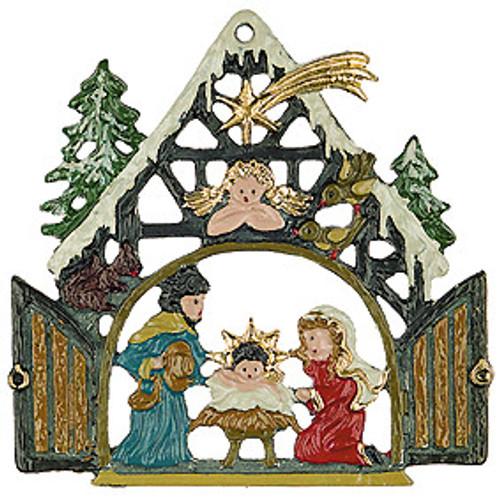 Nativity German Pewter Christmas Tree Ornament