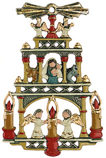 Traditional German Pyramid Pewter Christmas Ornament