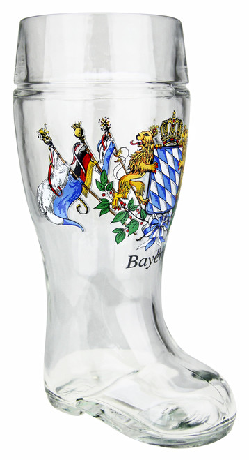 1 Liter Glass Beer Boot with Lion Logo