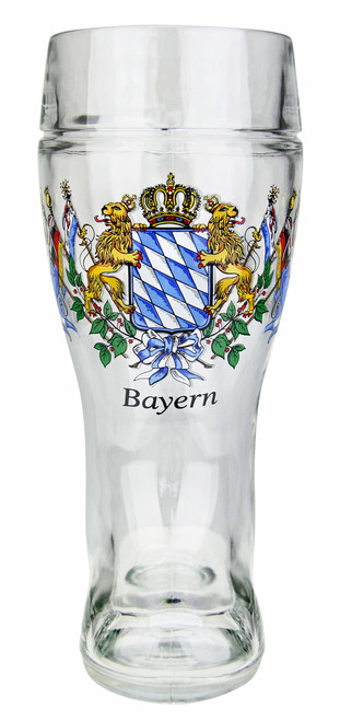 Authentic German Glass Beer Boot with Bavarian Lion Logo