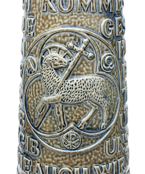 Lords Prayer Beer Stein Stone Gray with Cross Thumblift