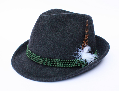 Tyrolean Hat Dark Gray with Feather
